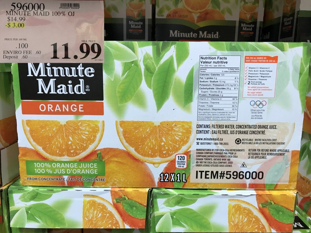 Costco West Sales Items For September 25 Oct 1 Bc Alberta Minute Maid Homestyle Orange 1l Happy Shopping