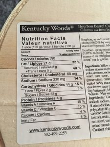 Costco Kentucky Woods Bourbon Barrel Cake Nutrition