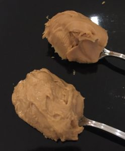 Costco bought PB2 Powdered Peanut Butter On The Left Versus Standard Peanut Butter