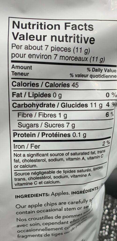 Costco Martin's Crispy Apple Chips Nutrition