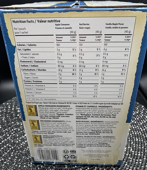 Costco Nature's Path Organic SuperFood Oats Nutrition
