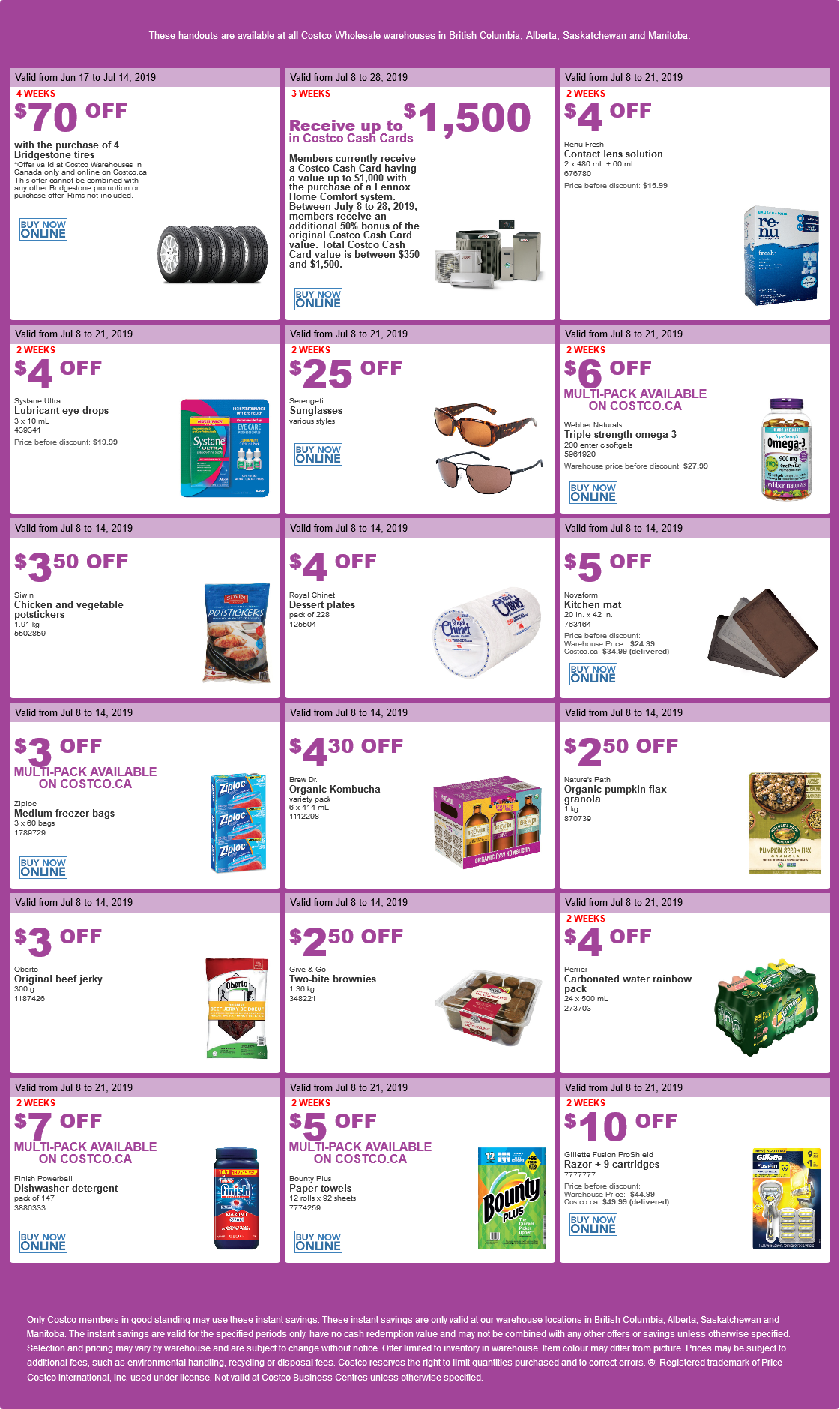 Costco Flyer for July 8-15, 2019 for BC, Alberta, Manitoba, Saskatchewan
