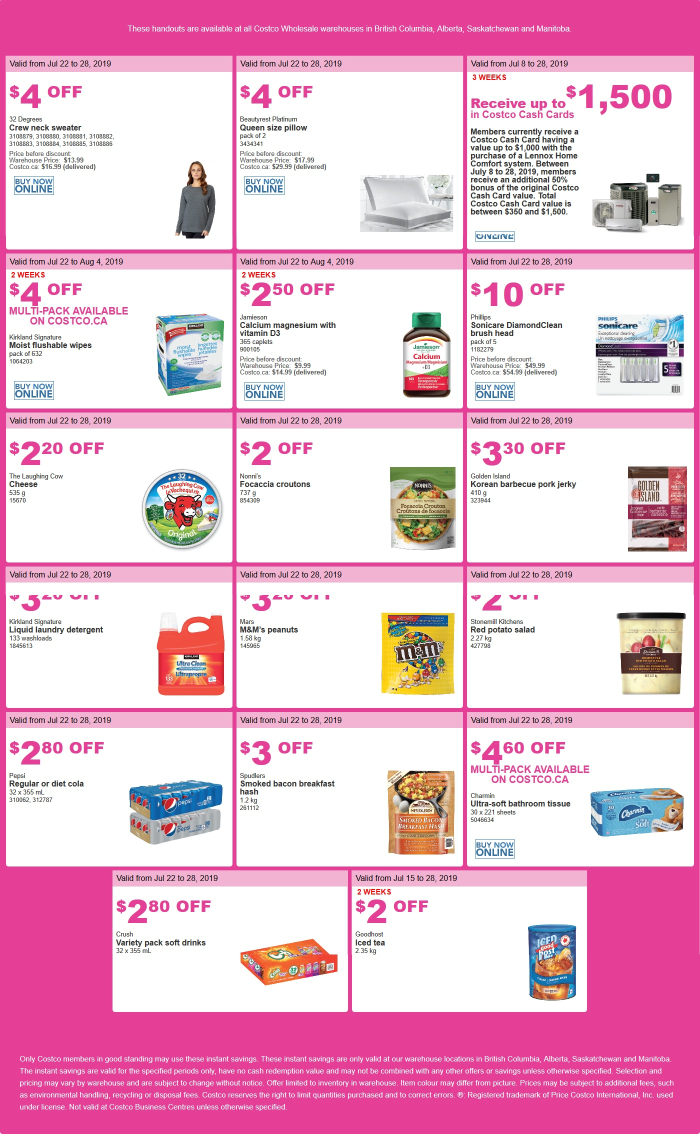 Costco Flyer for July 22-28, 2019 for BC, Alberta, Manitoba, Saskatchewan