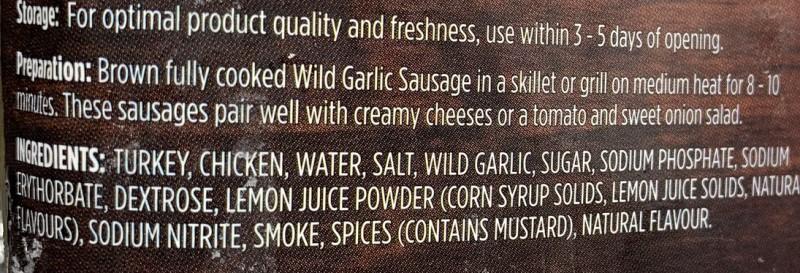 Costco Freybe WIld Garlic Turkey & Chicken Sausage