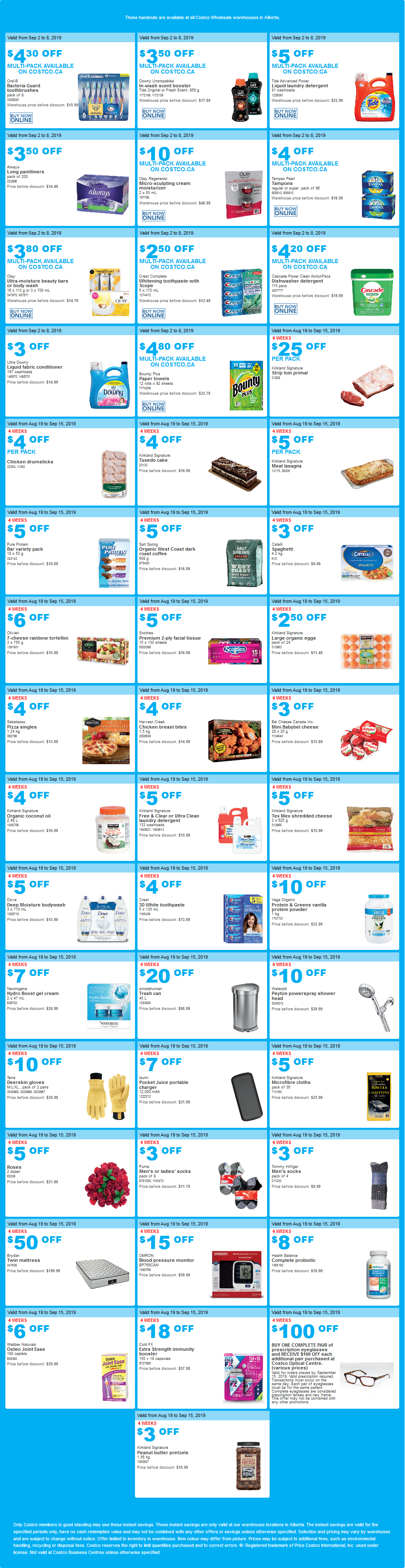 Costco Flyer for Sep 2-9, 2019 for Alberta