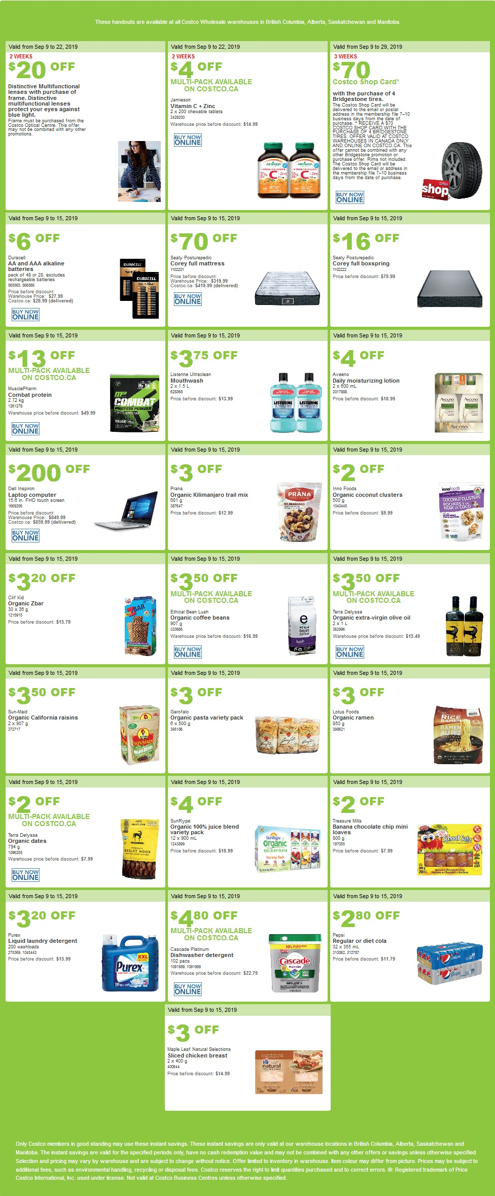 Costco Flyer for Sep 9-15, 2019 for BC, SK, MB