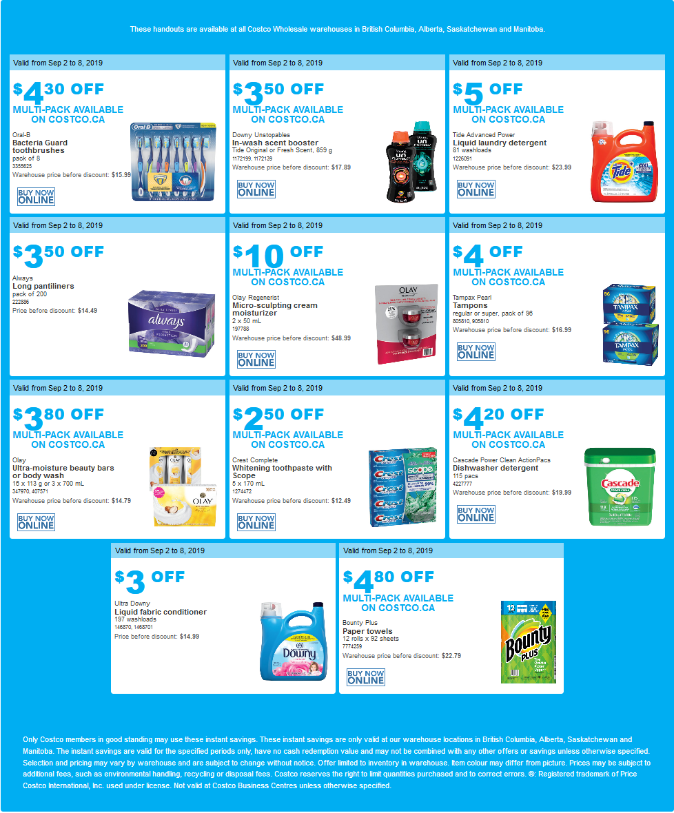 Costco Flyer for Sep 2-9, 2019 for BC, Manitoba, Saskatchewan