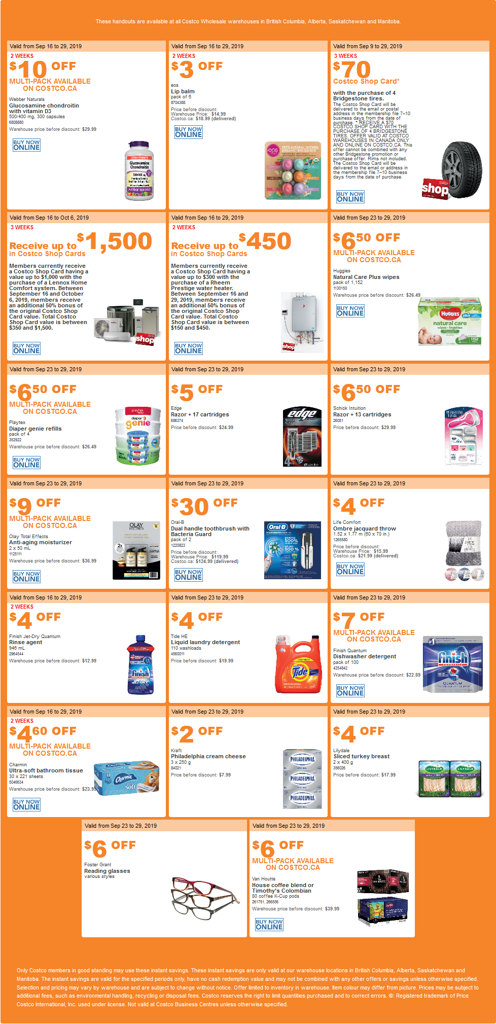 Costco Flyer for Sep 23-29, 2019 for BC, AB, SK, MB