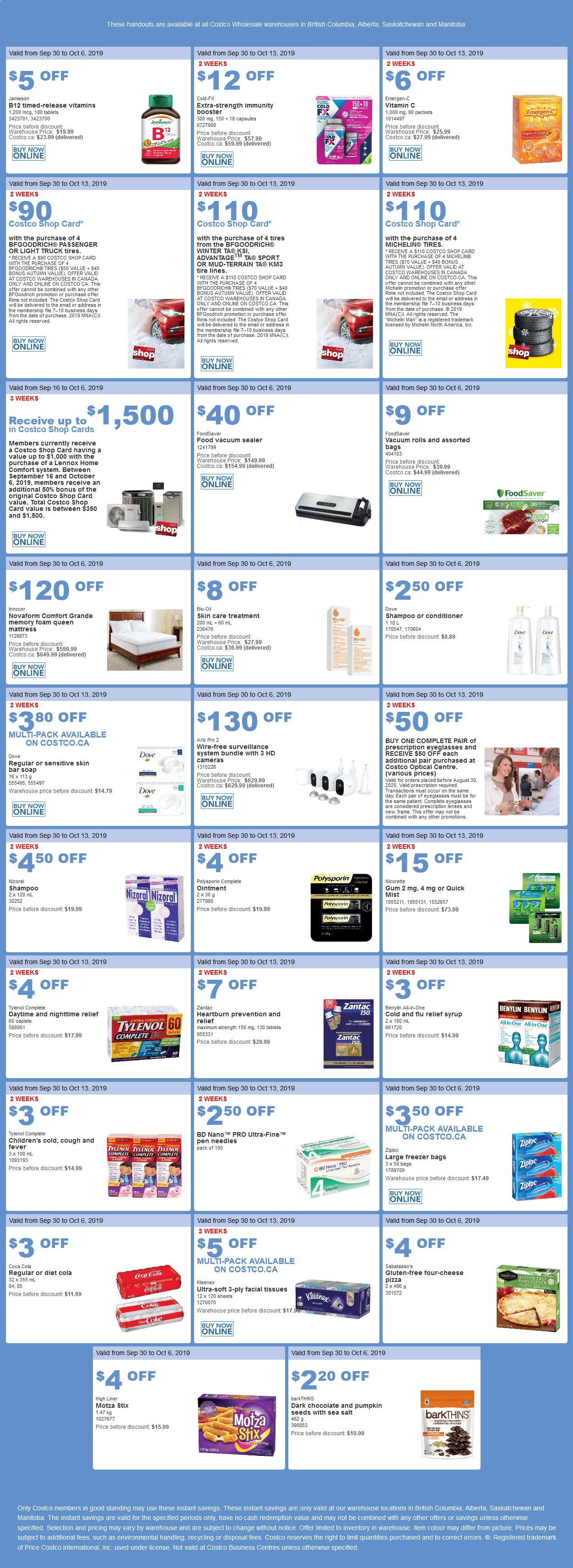 Costco Flyer for Sep 30 - Oct 6, 2019 for BC, AB, SK, MB