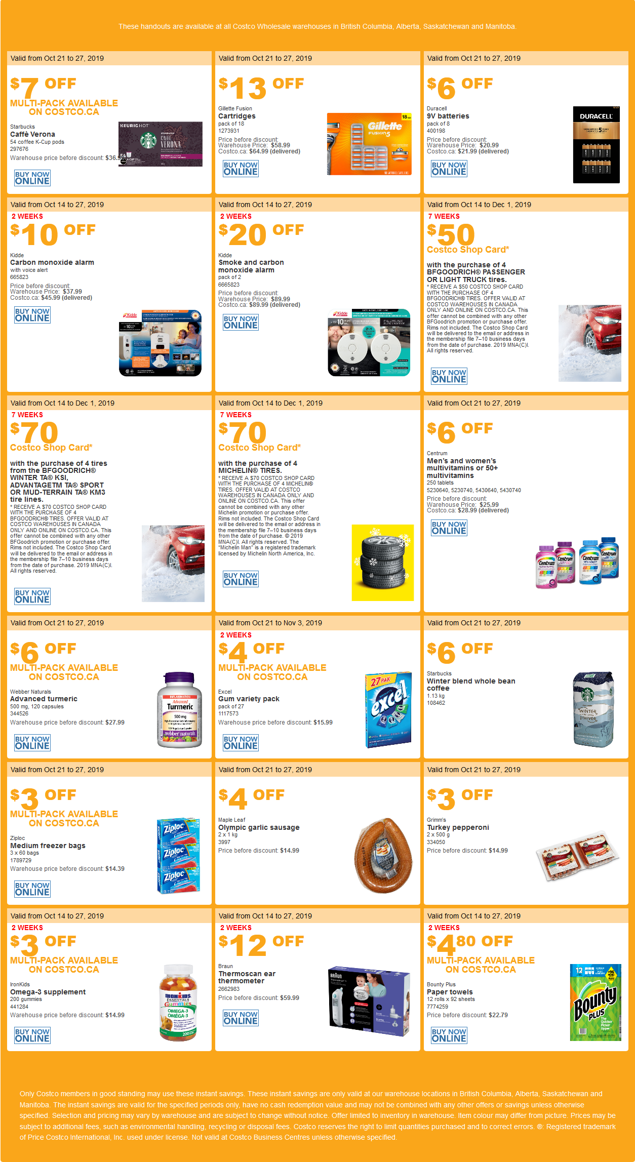 Costco Flyer for Oct 21-27, 2019 for BC, AB, SK, MB