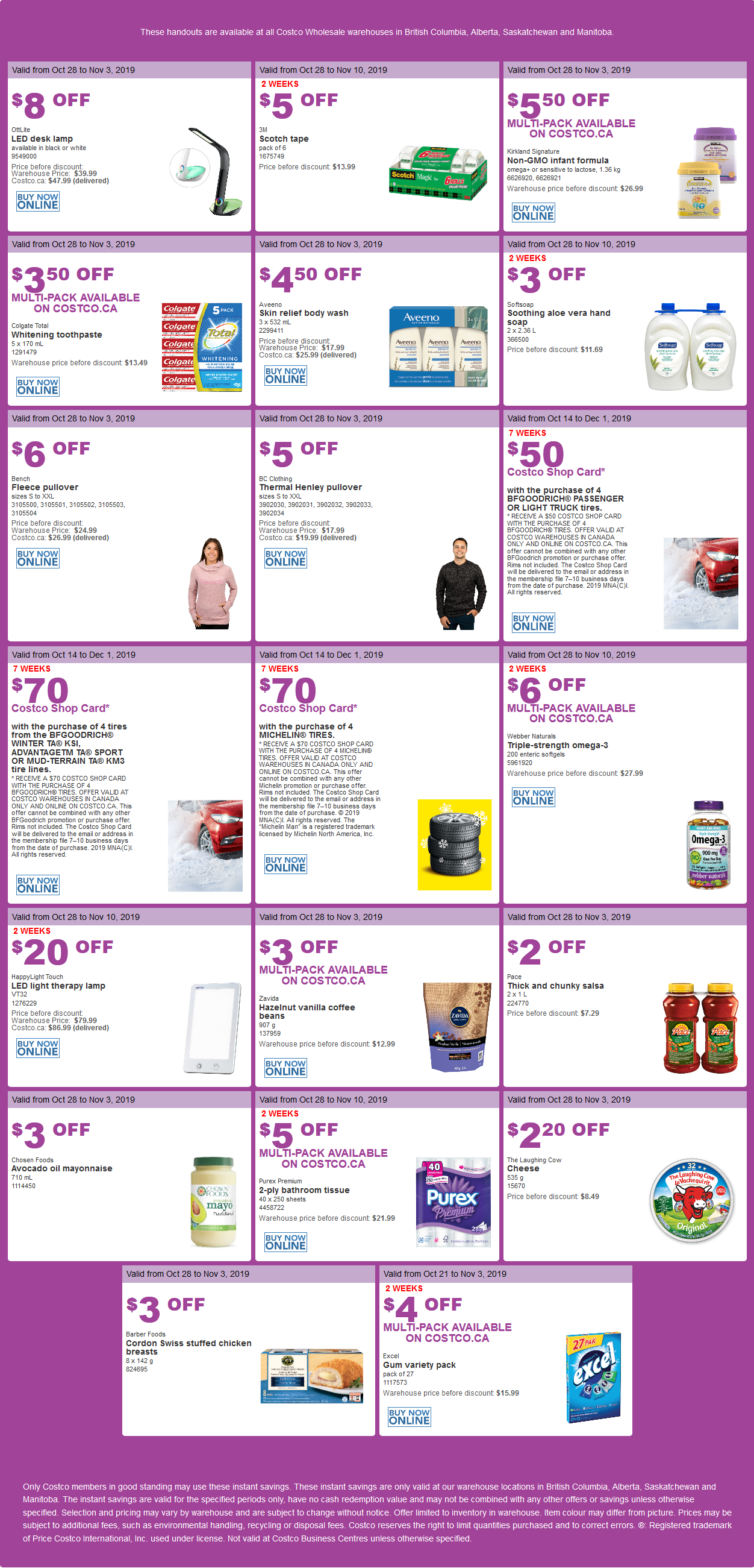 Costco Flyer for Oct 28 - Nov 3, 2019 for BC, AB, SK, MB