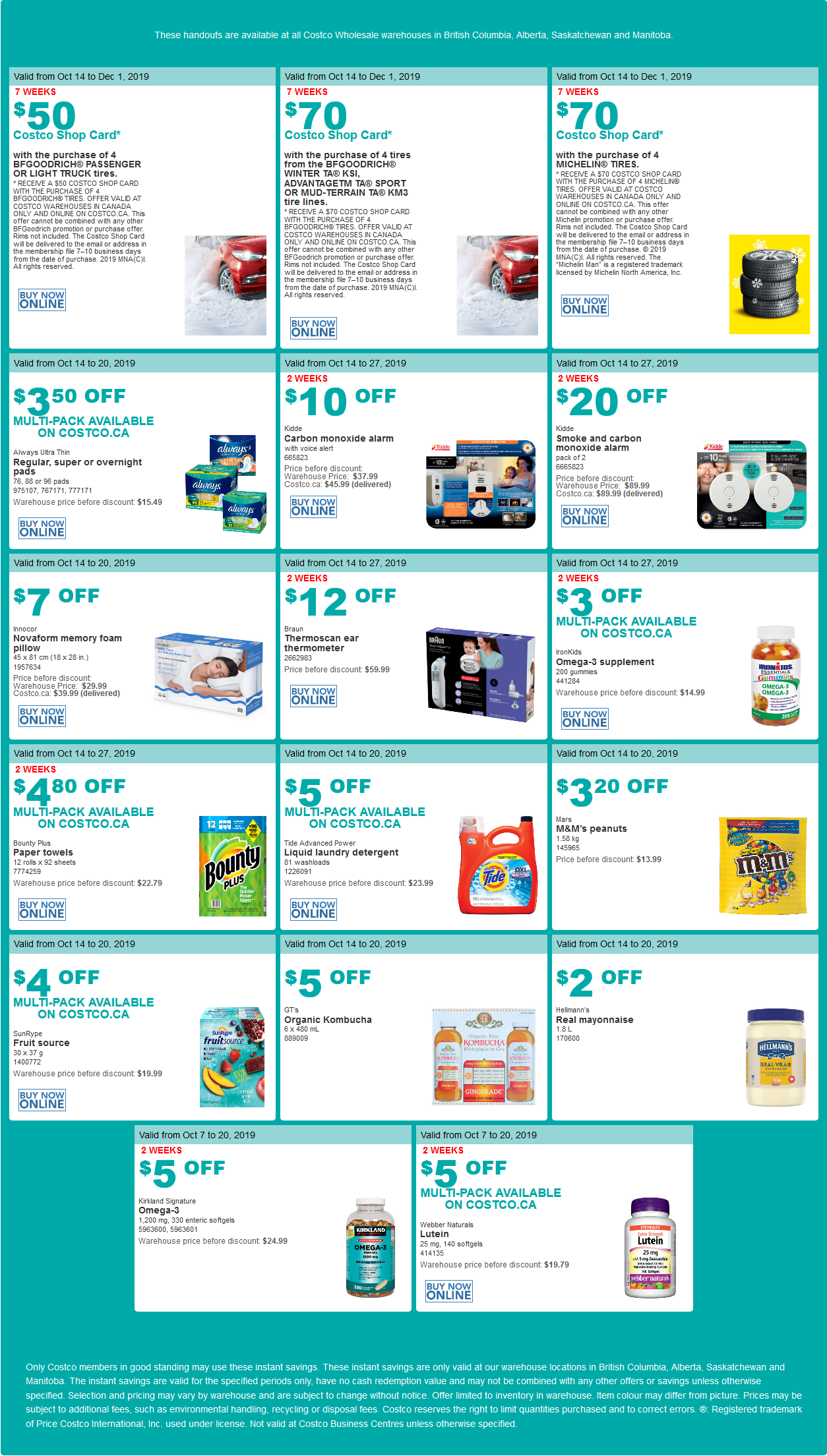Costco Flyer for Oct 14-20, 2019 for BC, AB, SK, MB
