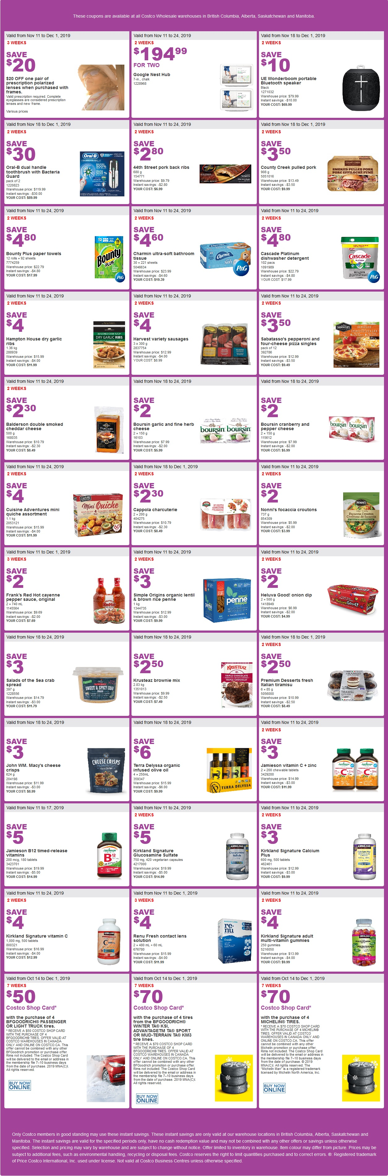 Costco Flyer Items for Oct Nov 18-24 2019 for BC, AB, SK, MB