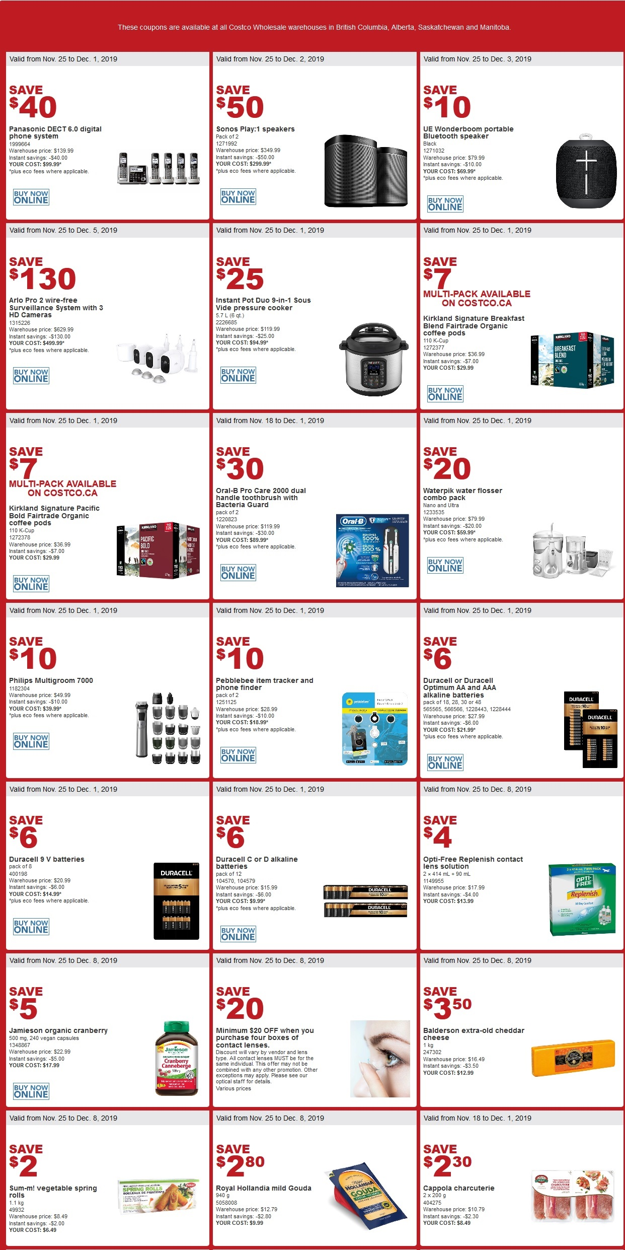 Costco Flyer for Oct Nov 25-Dec 12019 for BC, AB, SK, MB