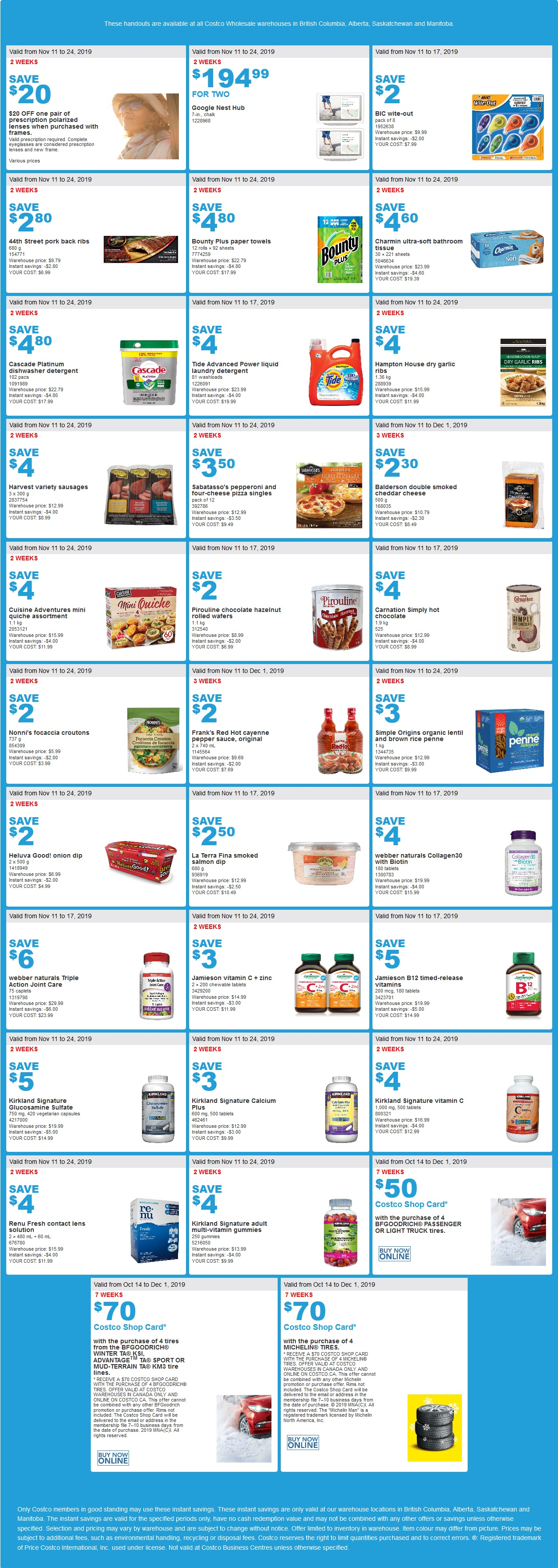 Costco Flyer for Oct Nov 11-17 2019 for BC, AB, SK, MB