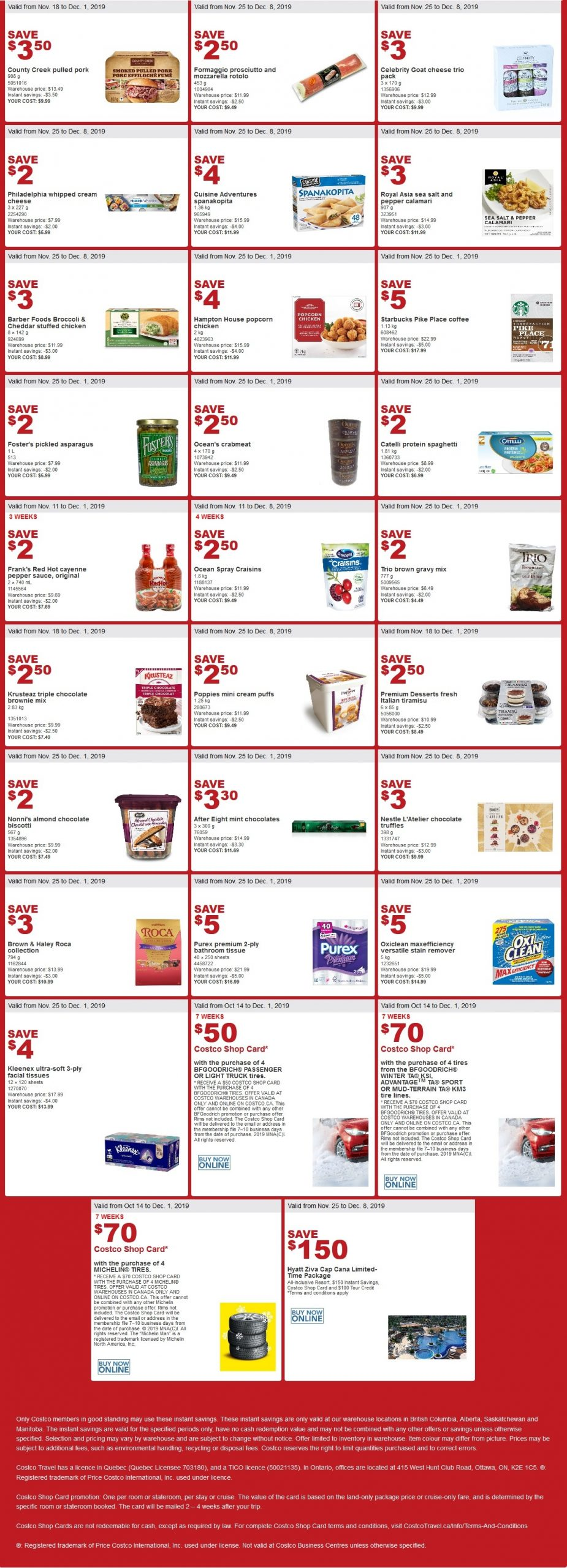 Costco Flyer for Oct Nov 25- Dec 1, 2019 for BC, AB, SK, MB
