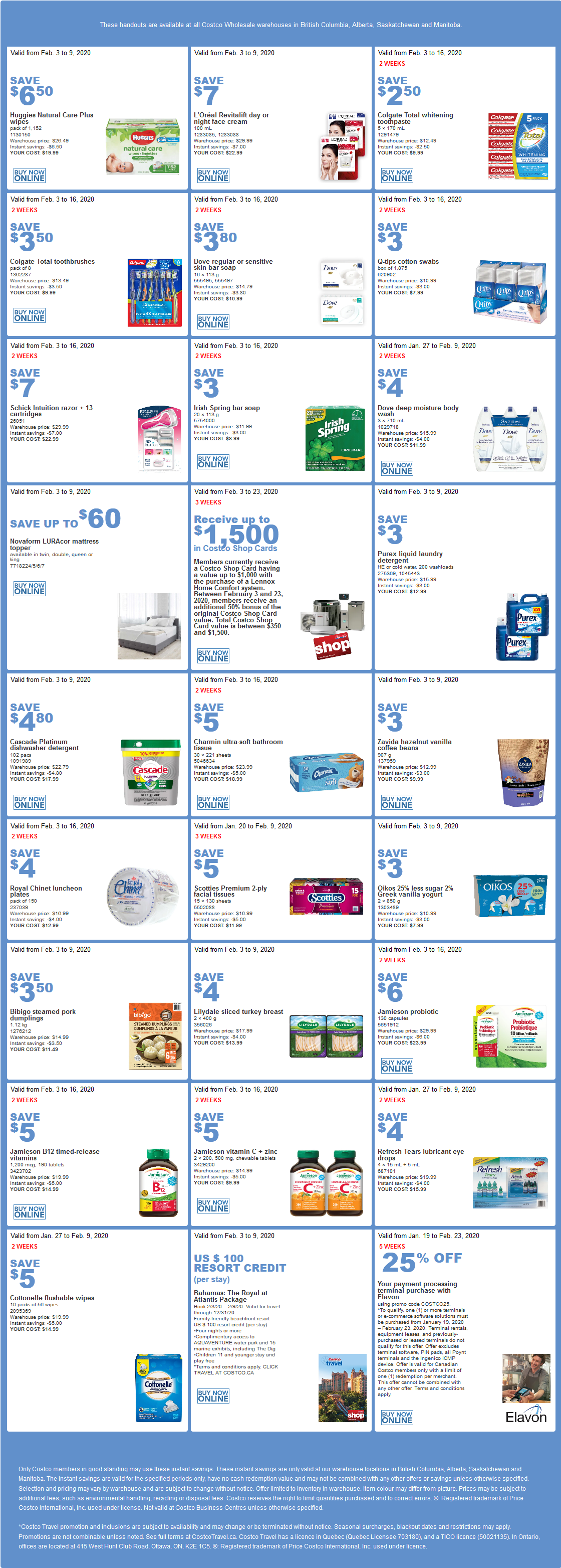 Costco Flyer for Feb 3-9, 2020, for BC, AB, SK, MB