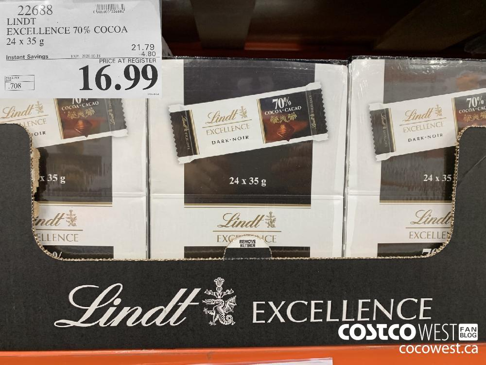 22688 LINDT EXCELLENCE 70% COCOA 24x 35g 16.99