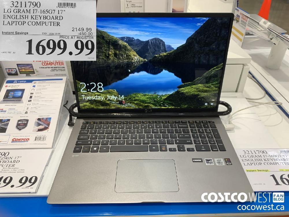 """3211790 LG GRAM I7-165G7 17"""" ENGLISH KEYBOARD LAPTOP COMPUTER EXP. 2020-10-05 1699.99"""