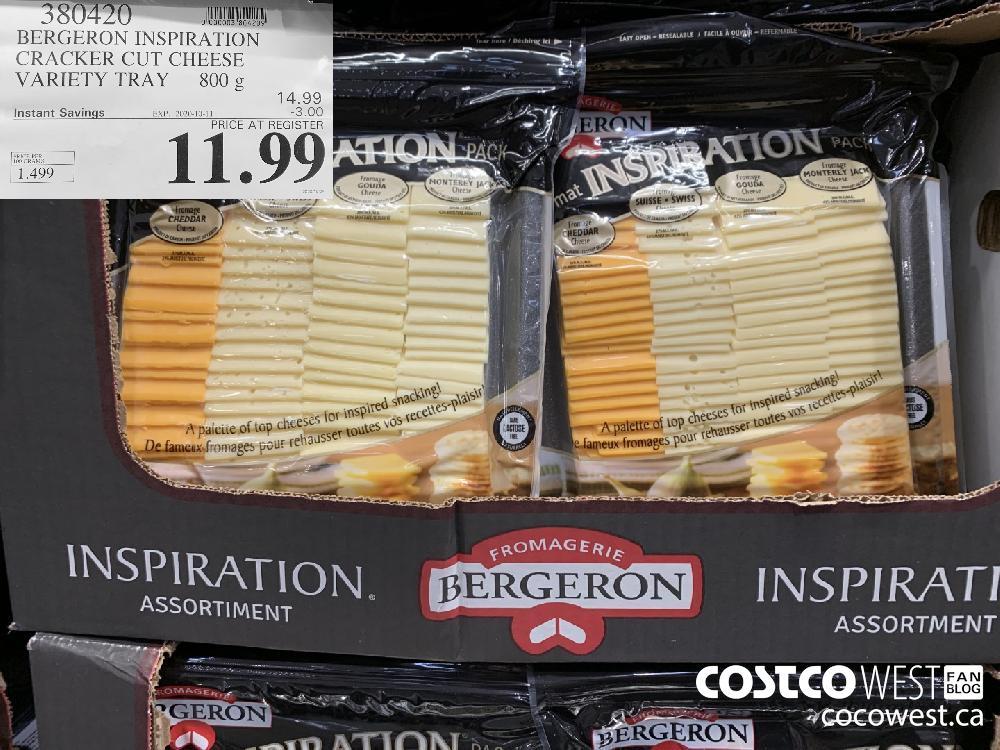 380420 BERGERON INSPIRATION CRACKER CUT CHEESE VARIETY TRAY 800g EXP 2020-10-11 11.99