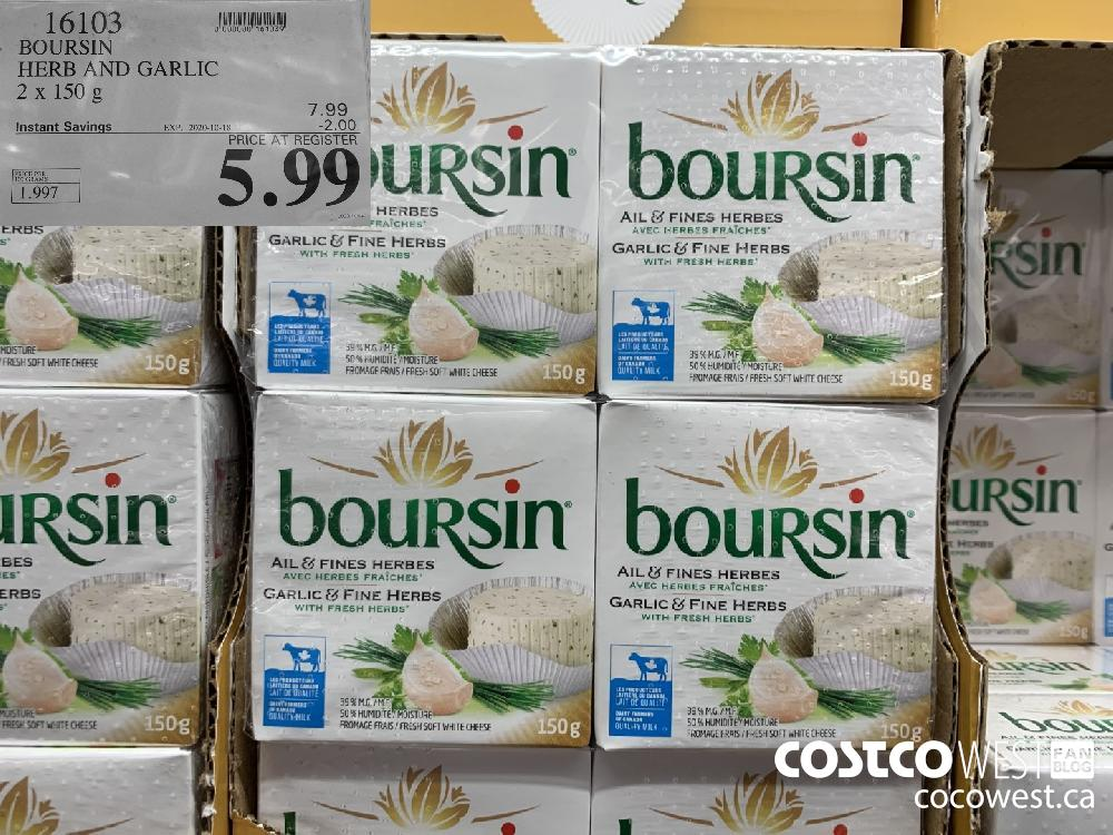 16103 BOURSIN HERB AND GARLIC 2 X 150g EXP 2020-10-18 5.99