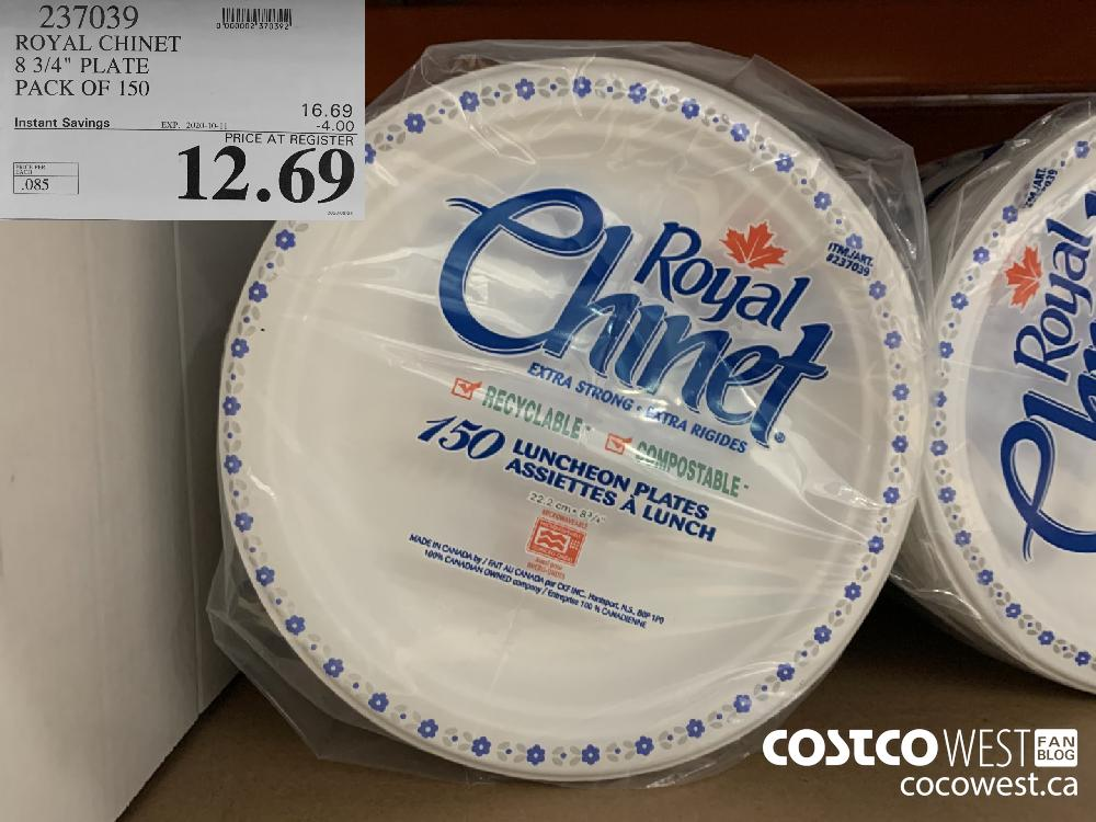 """237039 ROYAL CHINET 8 3/4"""" PLATE PACK OF 150 EXP. 2020-10-11 12.69"""