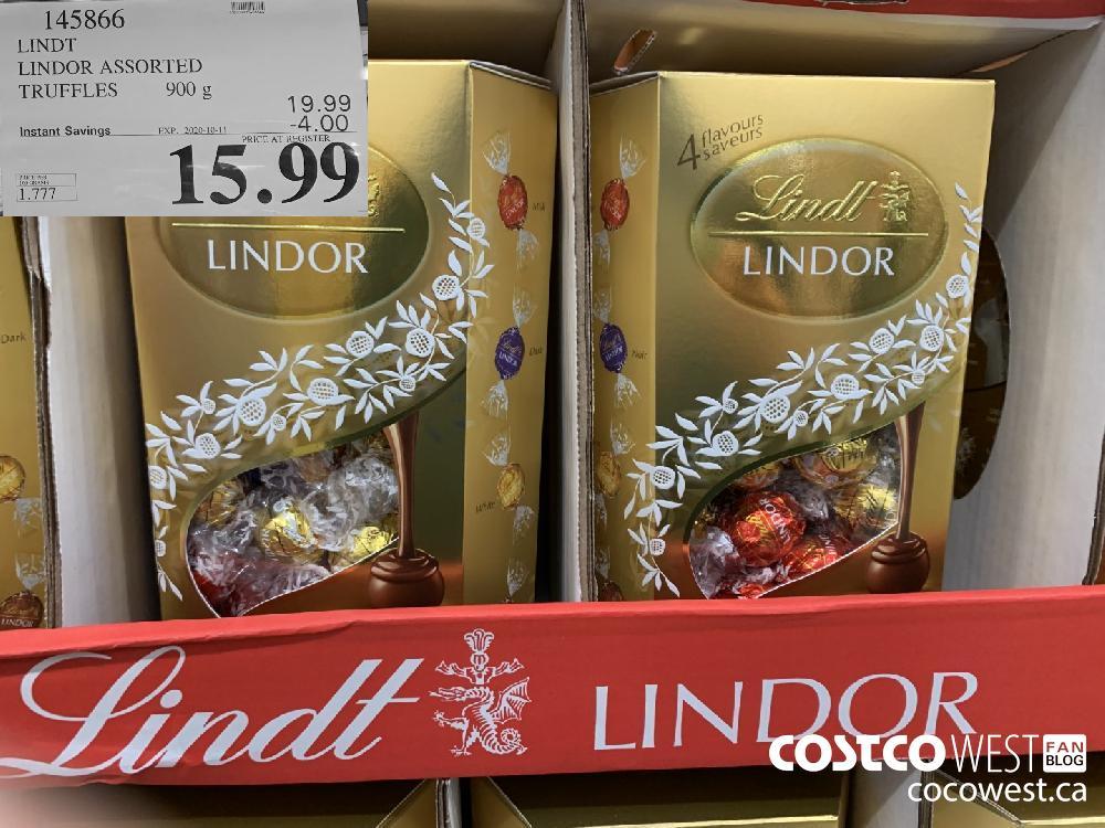 145866 LINDT LINDOR ASSORTED TRUFFLES 900g oboe EXP. 2020-10-11 15.99