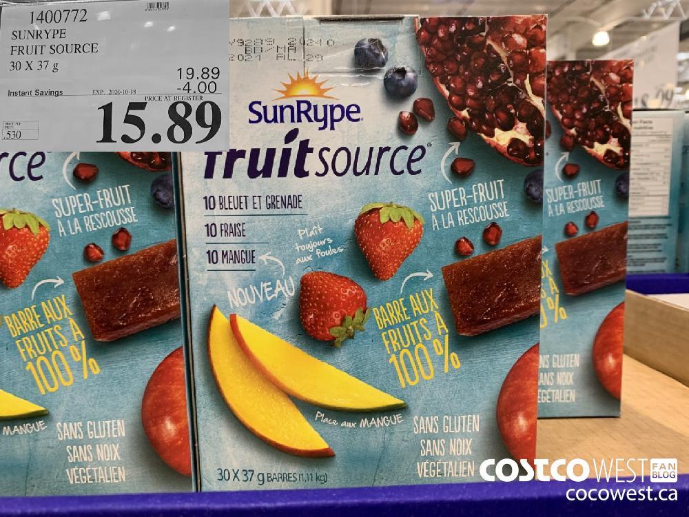 1400772 SUNRYPE FRUIT SOURCE 30 X 37 g EXP. 2020-10-11 15.89