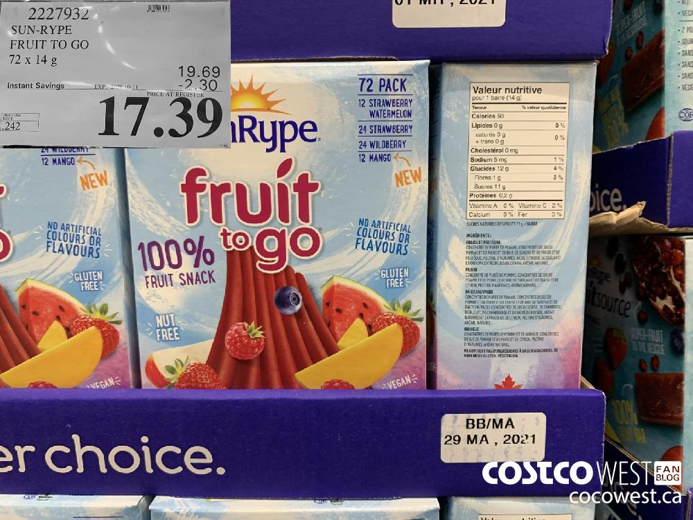 2227932 SUN-RYPE FRUIT TO GO 72x 14g EXP. 2020-10-11 17.39