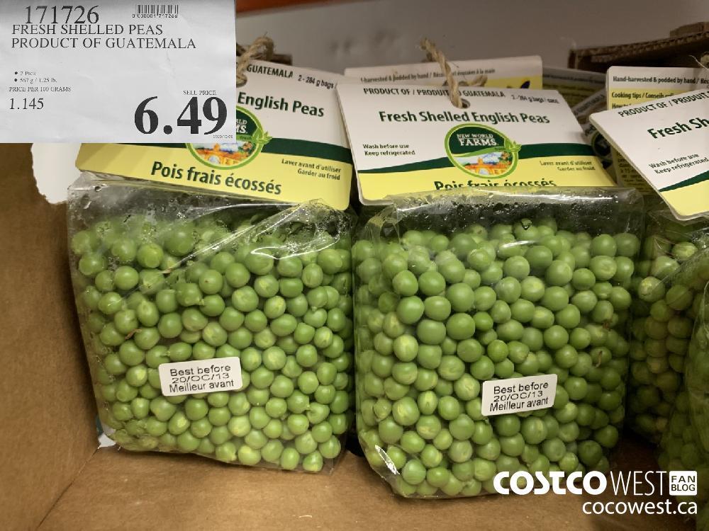 171726 FRESH SHELLED PEAS PRODUCT OF GUATEMALA 2 Pack 567 g/ 1.25 lb. 6.49