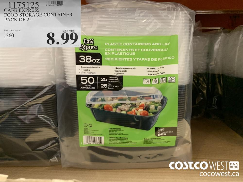 1175125 CAFE EXPRESS FOOD STORAGE CONTAINER PACK OF 25 8.99