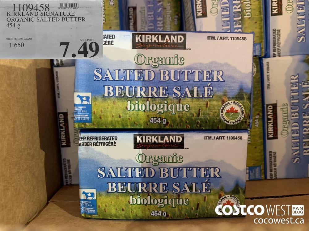 1109458 KIRKLAND SIGNATURE ORGANIC SALTED BUTTER 454 g 7.49