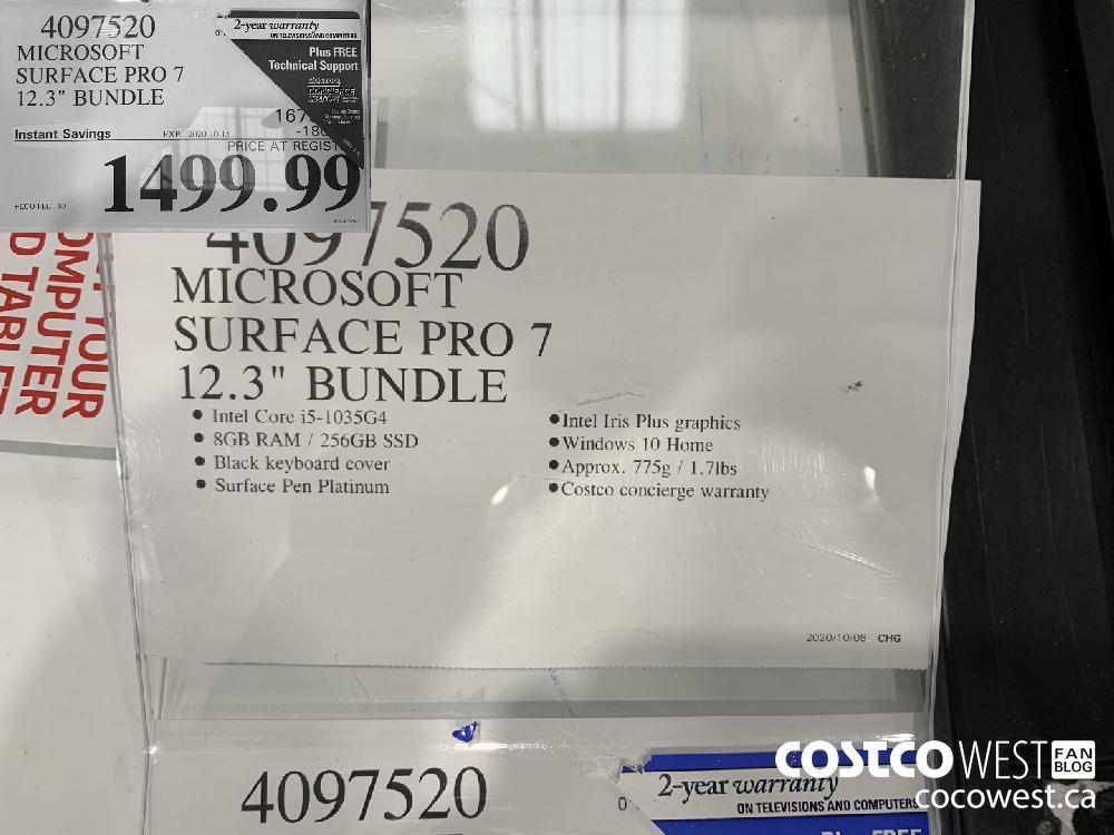 "4097520 MICROSOFT SURFACE PRO 7 12.3"" BUNDLE EXP. 2020-10-11 1499.99"