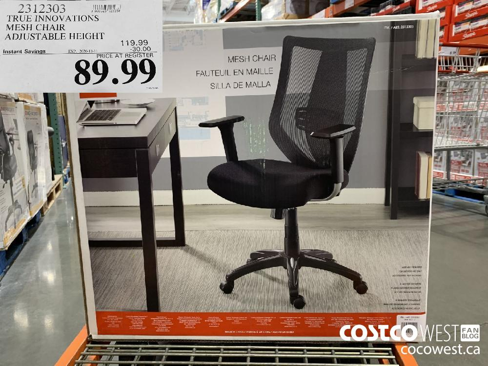 2312303 TRUE INNOVATIONS MESH CHAIR ADJUSTABLE HEIGHT EXP. 2020-10-11 89.99