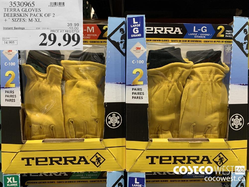 3530965 TERRA GLOVES DEERSKIN PACK OF 2 * SIZES: M-XL EXP. 2020-10-11 29.99