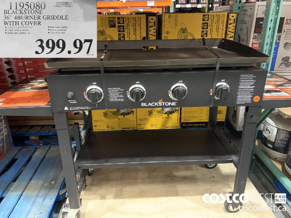 """1195080 BLACKSTONE 36"""" 4BURNER GRIDDLE @ 4 645.1 cm? (720 in.?) of © Push button igniter @ Total cooking surface ®Fold to go design @ Removable griddle top ® Cover Included 399.97"""