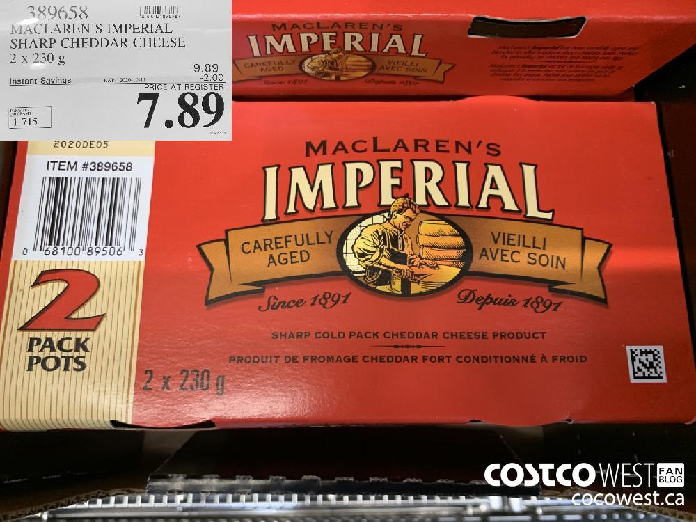 389658 MACLAREN'S IMPERIAL SHARP CHEDDAR CHEESE 2 x 230 g EXP. 2020-10-11 7.89