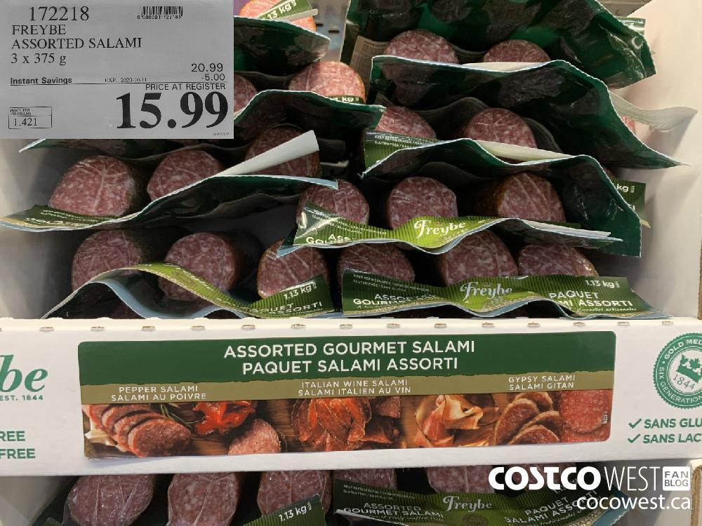 172218 FREYBE ASSORTED SALAMI 3 x 375 g EXP. 2020-10-11 15.99
