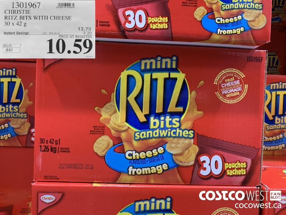 1301967 CHRISTIE RITZ BITS WITH CHEESE 30 x 42 g EXP. 2020-10-18 10.59
