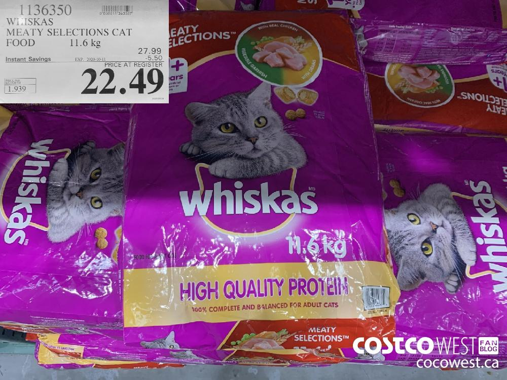 1136350 WHISKAS MEATY SELECTIONS CAT FOOD 11.6 kg EXP. 2020-10-11 22.49