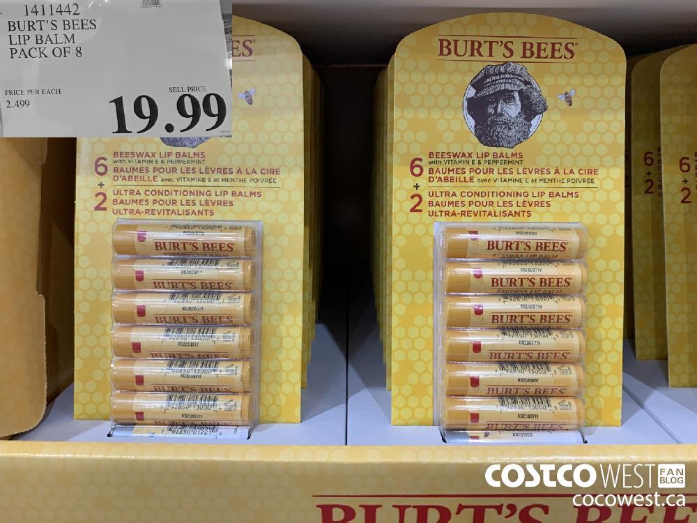 1411442 BURT'S BEES LIP BALM PACK OF 8 19 99