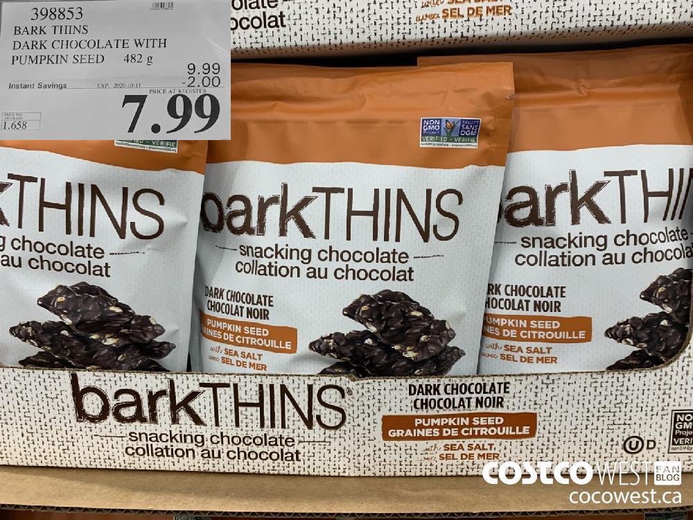 398853 BARK THINS DARK CHOCOLATE WITH PUMPKIN SEED 482g EXP. 2020-10-11 7.99