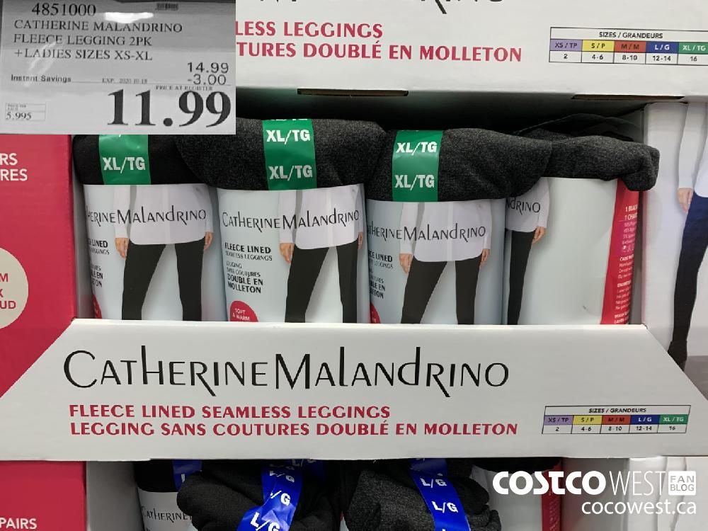 4851000 CATHERINE MALANDRINO FLEECE LEGGING 2PK LADIES SIZES XS-XL EXP. 2020-10-18 11.99