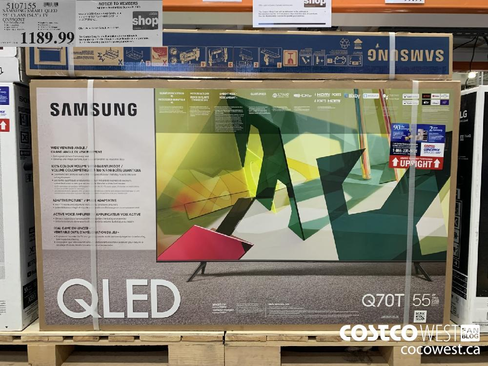 "5107155 SAMSUNG SMART QLED 55"" CLASS (54.5"") TV QN55Q70T Valid from October 02 to October 29 2020 The Costco Shop Card will be delivered to the address in . the membership file 10-15 business days from the date of purchase"