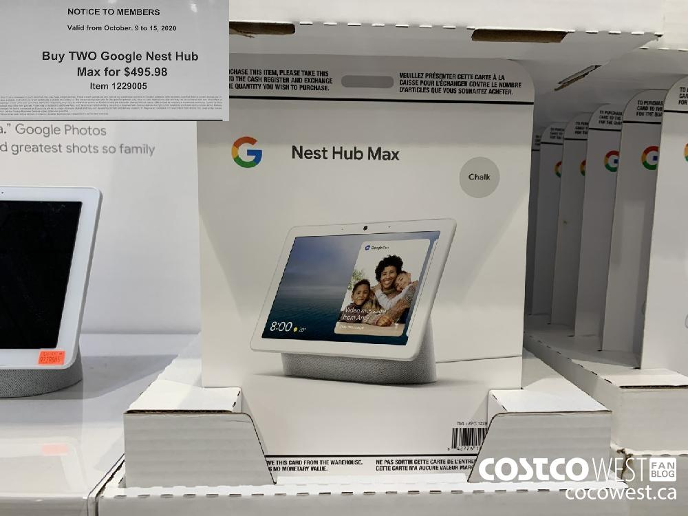 1229005 NOTICE TO MEMBERS Valid from October. 9 to 15 2020 Buy TWO Google Nest Hub Max for $495.98