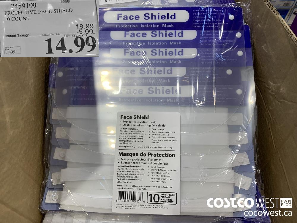 2459199 PROTECTIVE FACE SHIELD 10 COUNT EXP. 2020-10-18 14.99