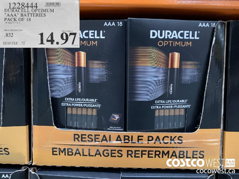 "1228444 DURACELL OPTIMUM ""AAA "" BATTERIES PACK OF 18 14.97"