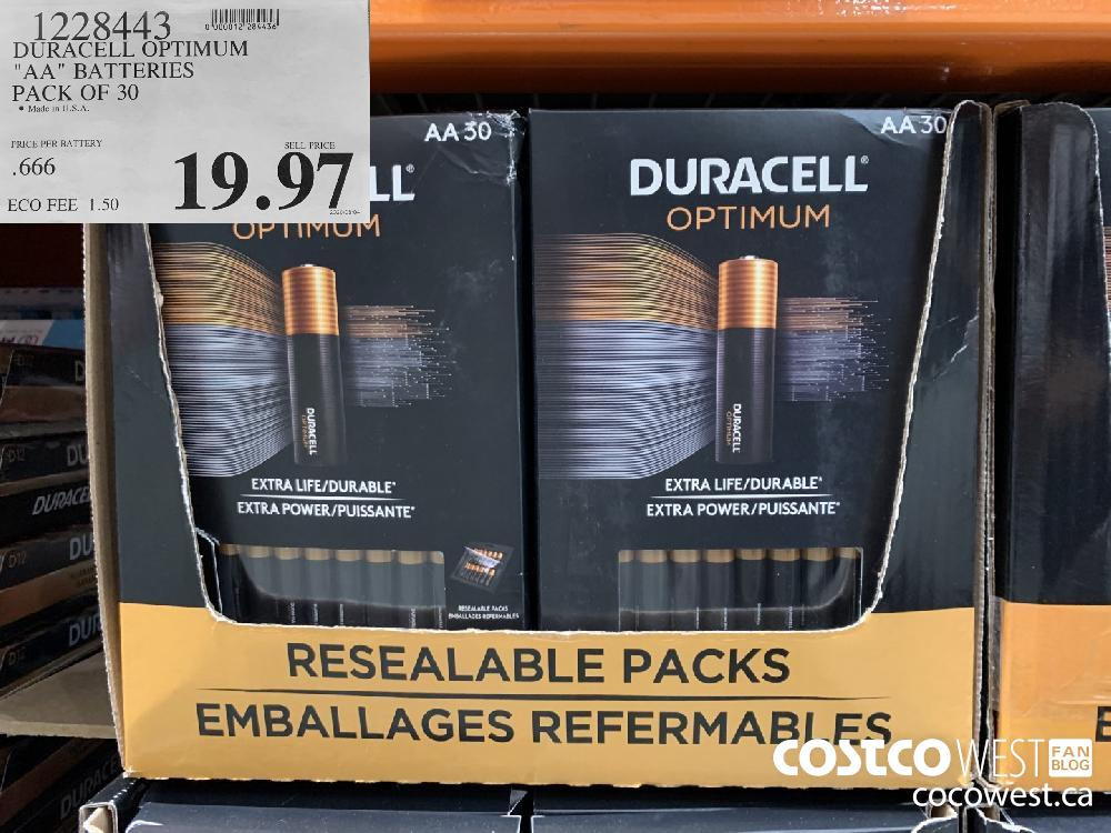 "1228443 DURACELL OPTIMUM ""AA"" BATTERIES PACK OF 30 19.97"