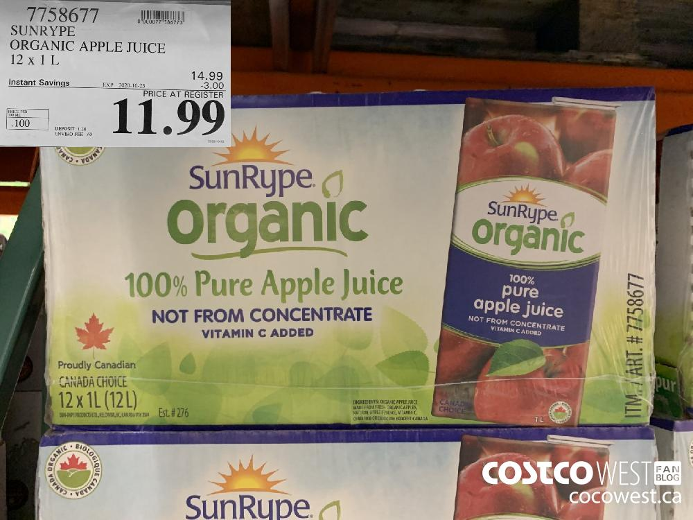7758677 SUNRYPE ORGANIC APPLE JUICE 12 x 1 L EXP. 2020-10-25 11.99