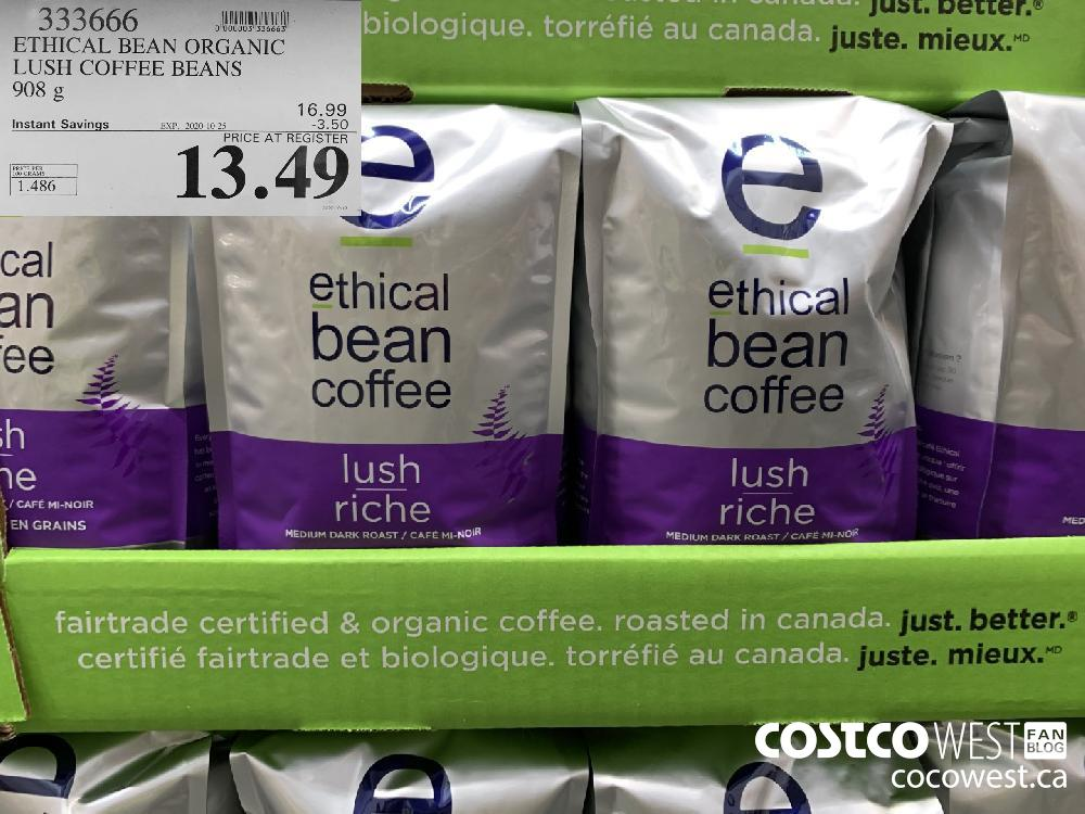 333666 ETHICAL BEAN ORGANIC LUSH COFFEE BEANS 908 g EXP. 2020-10-25 13.49